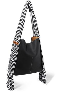 Loewe - Scarf striped cotton-trimmed textured-leather shoulder bag 4bf3ef409abe8