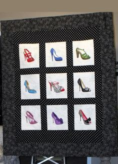 Shoe Quilt - these are painted shoes but might be a great idea for appliqué.....this would be a perfect little wall hanging for my BFF who has a passion for colourful shoes.