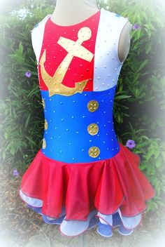 Sailor Themed Competition Figure Skating Dress by joshuajewelskate, $625.00