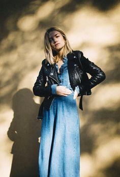 Jessi Frederick of Stylish Gambino wears a denim dress with a cropped moto jacket