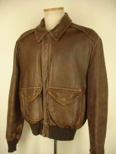 Details about Vtg Distressed Wilsons Brown Leather B-2 Bomber ...