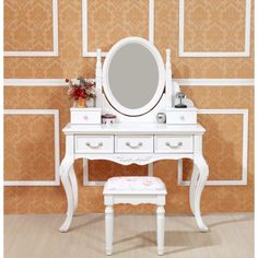 Queen Anne French White Dressing Table with Mirror - mydeal.com.au $349