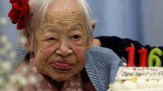 Misao Okawa, the world's oldest Japanese woman, at her 116th birthday celebration at Kurenai Nursing Home on March 5, 2014 in Osaka, Japan.