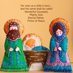 Modèle-All In One Days Time: 12 Days of Christmas Crafts: Day 12 Nativity Ornaments, Nativity Crafts, Felt Christmas Ornaments, Christmas Nativity, Christmas Stockings, Christmas Decorations, Nativity Scenes, Christmas To Do List, Christmas Makes