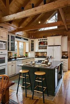 Log Home Kitchens - Log Homes of America . - Log Home Kitchens – Log Homes of America - Country Kitchen, New Kitchen, Kitchen Decor, Kitchen Rustic, Awesome Kitchen, Kitchen Ideas, Log Cabin Kitchens, Log Cabin Homes, Rustic Loft