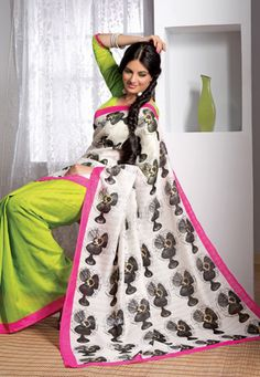 Off white and light green art silk abstract printed saree. Available with green art silk blouse which can be customized upto 42 inches, blouse shown in the image is for photography purpose. (Slight variation in color is possible.) data-pin-do=