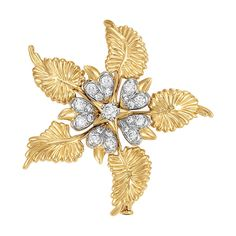 Gold, Platinum and Diamond Flower Brooch, Tiffany & Co., Schlumberger   18 kt., the stylized flower centering one round diamond on a polished gold star, encircled by five heart-shaped petals platinum-set with 20 round diamonds, total approximately 1.05 cts., further framed by five curving polished gold ridged leaves, signed Tiffany & Co., Schlumberger Studios, approximately 16.5 dwt.