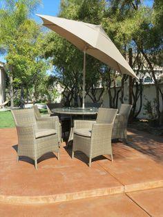 BuildDirect – Dining Sets - Wicker Medium (Ideal for 6 Seats) – Palau Sunbrella Dining Set - Outdoor View
