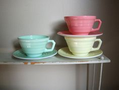 Vintage Hazel Atlas Coffee cups with saucer