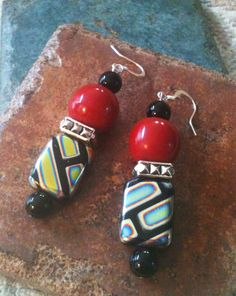 Chunky Jet Glass and Red Ceramic Bead Earrings by GrecoGirlJewelry, $12.50