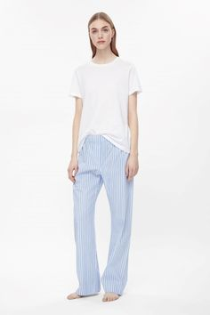 COS image 6 of Striped pyjama trousers in Sky Blue