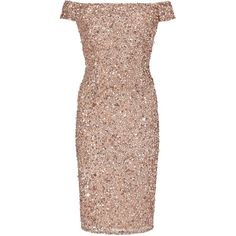 Adrianna Papell Off Shoulder Bead Dress, Rose Gold (13.915 RUB) ❤ liked on Polyvore featuring dresses, midi cocktail dress, cocktail maxi dresses, long-sleeve mini dress, sequin cocktail dresses and embellished cocktail dress