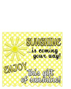 "I have always loved the color Yellow. I decided to put together a basket of yellow things that represent a gift of sunshine. Van Gogh once said… ""How wonder Bag Of Sunshine, Basket Of Sunshine, You Are My Sunshine, Free Printable Gift Tags, Free Printables, Holiday Crafts For Kids, Gifts For Kids, Van Gogh, Sunshine Printable"