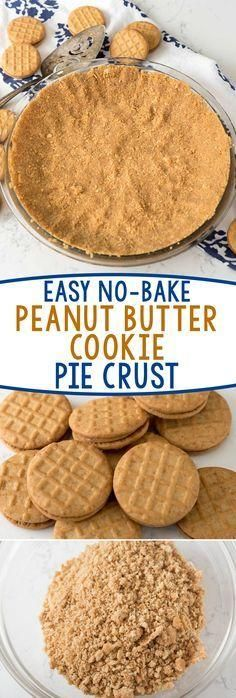 Easy No-Bake Peanut Butter Cookie Crust - this crust recipe is PERFECT for any???