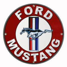 Mustang Red Ring Logo Small Metal Sign | Ford Garage Decor ...