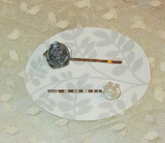 Set of 2 Bobby Pins White Resin Frosted Rose and by RitasGarden, $4.75