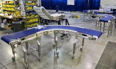 Stainless steel conveyor designed to easily keep clean in food processing industry.