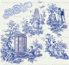 "Doctor Who toile. I'm not big on toile, but this is awesome. Anyone else think there should be a representation of the Doctor from the painting at the beginning of ""The Impossible Astronaut? The Doctor, Eleventh Doctor, Geronimo, Textiles, My New Room, Custom Fabric, Fabric Shop, Printing On Fabric, Nerdy"