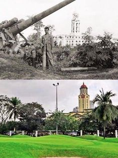Dito, Noon: Manila Clock Tower, 1945 x 2010 #kasaysayan -- The clock tower, designed by Antonio Toledo, was completed in the 1930s and was destroyed in the Battle of Manila. It is the largest clock tower in the Philippines, reaching close to 100 feet. Manila, Intramuros, Before And After Pictures, Large Clock, Filipina, Present Day, Old Pictures, Picture Show, Statue Of Liberty