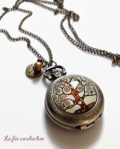 Sautoir montre à gousset * Arbre de vie - Klimt *   cabochon verre et bronze