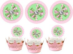 Free Printable Cupcake Toppers and Stickers - Pink and Green