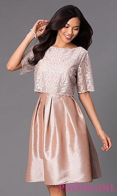 Knee Length Popover Dress with Lace Bodice and Half Sleeves at PromGirl.com