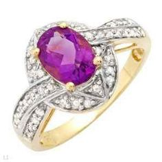 10K Solid Yellow Gold Ring W Genuine Amethyst & Diamonds - $120 (Eugene, Oregon)