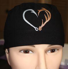 Black Embroidered Hunting/Fishing Scrub, Chemo or Bike Cap for Men