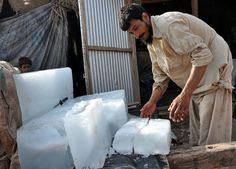"""Day 8: """"I sell more ice during Ramadan, because people use it for Iftar time drinks like sharbat, mint shlombey and water. People here are extremely poor and so I often give small pieces of ice to children for free. I'm not a rich man and can't give Zakat (charity), so this is my way of helping.""""  Dauod, 35, fled Afghanistan with his family when he was two. He now runs a small grocery shop inside the I-12 refugee settlement in Pakistan.   Duniya Aslam Khan for UNHCR"""