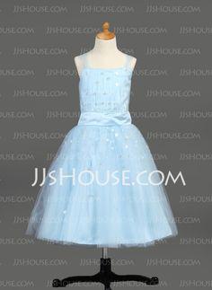 Flower Girl Dresses - $99.99 - A-Line/Princess Strapless Tea-Length Satin  Tulle Flower Girl Dresses With Ruffle  Beading (010005913) http://jjshouse.com/A-line-Princess-Strapless-Tea-length-Satin-Tulle-Flower-Girl-Dresses-With-Ruffle-Beading-010005913-g5913