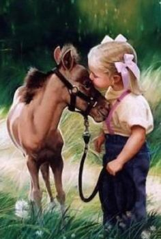 Adorable horse painting of little foal getting a kiss from his cute… Precious Children, Beautiful Children, Beautiful Horses, Animals Beautiful, Vida Animal, Mundo Animal, Animals For Kids, Baby Animals, Cute Animals