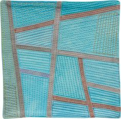 Postcards from Thailand #5 - ©2014 Lisa Call - 6 x 6 inches - fabric, dye, thread - Sold
