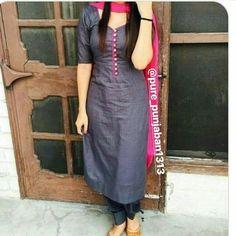 Greg and pink suit Churidar Neck Designs, Kurta Neck Design, Salwar Designs, Kurti Designs Party Wear, Neck Designs For Suits, Dress Neck Designs, Chudi Neck Designs, Blouse Designs, Indian Designer Suits