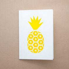 E&W Letterpress Pineapple Card - Yellow