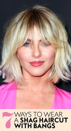 7 Ways to Wear a Shag Haircut With Bangs – InStyle – hairtrends Bobbed Hairstyles With Fringe, Bob Haircut With Bangs, Bob Hairstyles With Bangs, Short Hair With Bangs, Long Bob Hairstyles, Short Hair Cuts, Blonde Lob With Bangs, Fringe Bob Haircut, Blonde Bob With Fringe