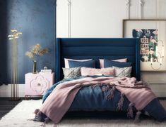 in by Tov Furniture in Tustin, CA - Koah Navy Velvet Bed in King Blue And Pink Bedroom, Navy Blue Bedrooms, Blue Master Bedroom, Blue Bedroom Decor, Blue Rooms, Room Ideas Bedroom, Bedroom Colors, Navy Blue Bedding, Navy Gold Bedroom