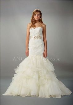 Sweetheart Mermaid Lace Natural Waist With Beading Floor Length Court Train Wedding Gowns