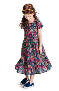 Vestido Longo Infantil Feminino Estampado Edição Liberty Puc