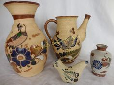 Lot # : 6 - Mexican Tonala Pottery Teapot,Vases, Bird