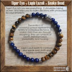 AFFIRMATION: I can start again without fear. DEEP PEACE: Lapis + Tiger's Eye Yoga Mala Bracelet