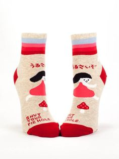 Blue Q Shut Your Pie Hole Ankle Socks Red Multi Womens size Blue Q Socks, My Socks, Cool Socks, Awesome Socks, Silver In The City, Pie Hole, Thing 1, Funny Socks, Silly Socks