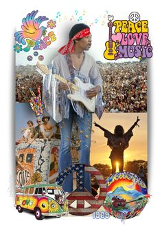 """Peace * Love * Music ~ Woodstock 1969"" by pwhiteaurora ❤ liked on Polyvore featuring art"