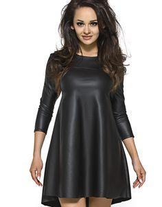 Skórzana Sukienka tunika w kształcie litery A KM119 , Sukienki - Kartes-Moda