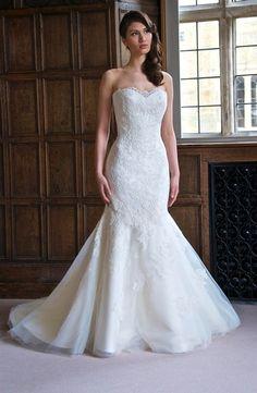 Bridal Gowns: Augusta Jones Mermaid Wedding Dress with Sweetheart Neckline and Dropped Waist Waistline