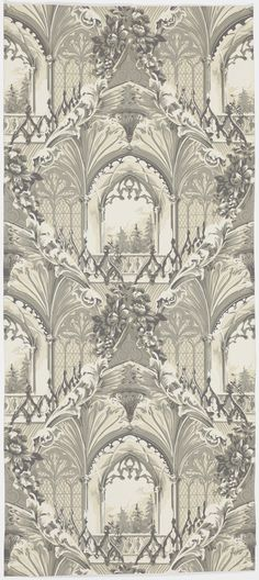 This beautiful monochromatic wallpaper is an excellent example of mid-nineteenth century stylistic eclecticism. The window, surrounded by fan vaults and Gothic tracery, is a typical Gothic Revival image. However, the bunches of flowers and swirling acanthus leaves that frame the Gothic interior are Rococo Revival motifs, pointing to the enormous  influence of French culture on British wallpaper production at this time. No doubt the mixture of styles, as well as the complex trompe-l'oeil…