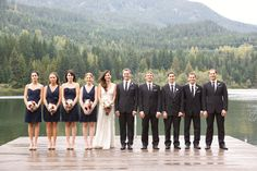 wedding party on the dock.