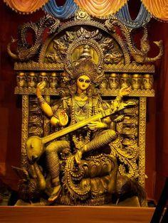 Jai Maa Saraswati, Saraswati Murti, Saraswati Statue, Saraswati Goddess, Shiva Parvati Images, Hindu Worship, Manoj Kumar, Nitish Kumar, Hindu Dharma
