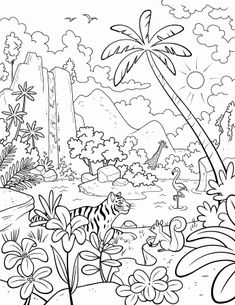 A jungle scene with a waterfall, palm trees, a giraffe, a flamingo, a tiger, and a squirrel.