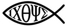 Ichthys (Ikhthus) from the Koine Greek for fish, is a symbol consisting of two intersecting arcs, the ends of the right side extending beyond the meeting point so as to resemble the profile of a fish, used by early Christians as a secret Christian symbol.