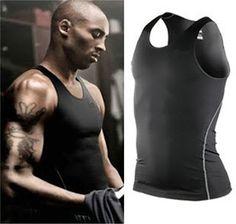 Men tight Sport Vest Cotton Tank Top Basketball Bodybuilding fitness compression
